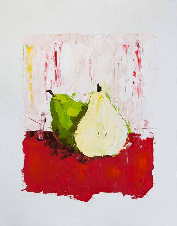 A Pear Behind - Oil Painting